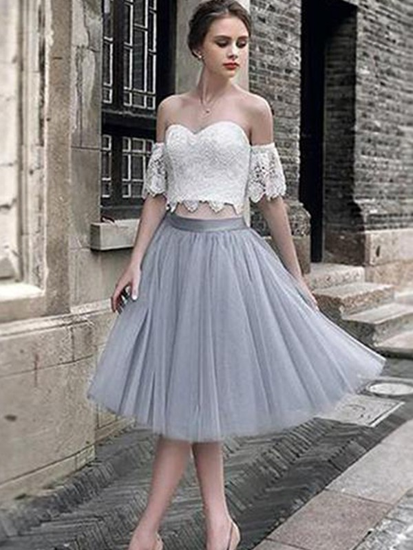 A-Line Lace Sweetheart Tulle Sleeveless Tea-Length Two Piece Dress