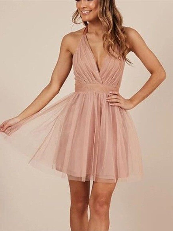 A-Line Sleeveless Halter Tulle Short Dress
