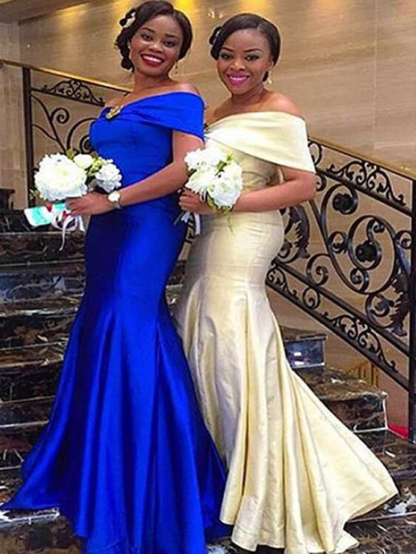 Mermaid Off-the-Shoulder Sleeveless Floor-Length Satin Bridesmaid Dresses