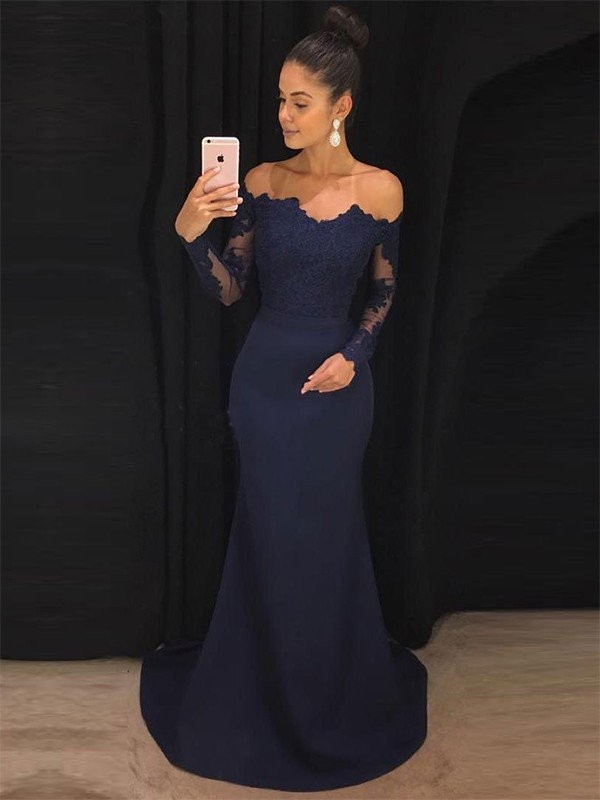 Mermaid Off-the-Shoulder Long Sleeves Sweep/Brush Train Lace Satin Dresses