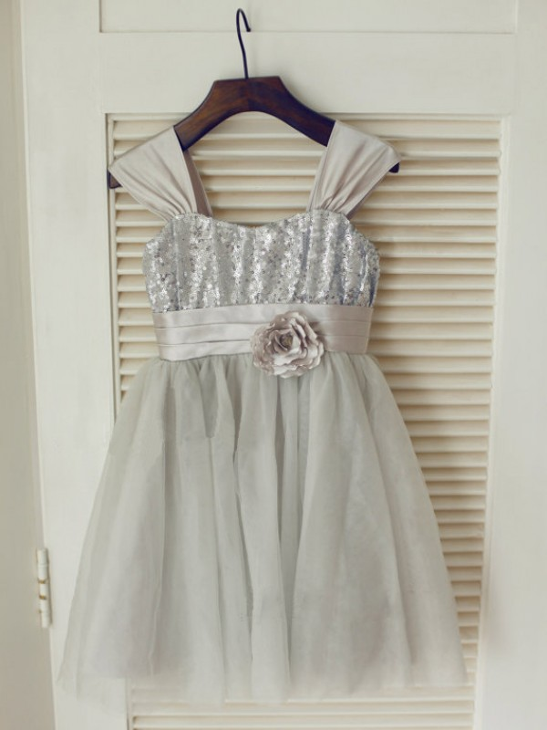 A-line Straps Tea-length Tulle Flower Girl Dress