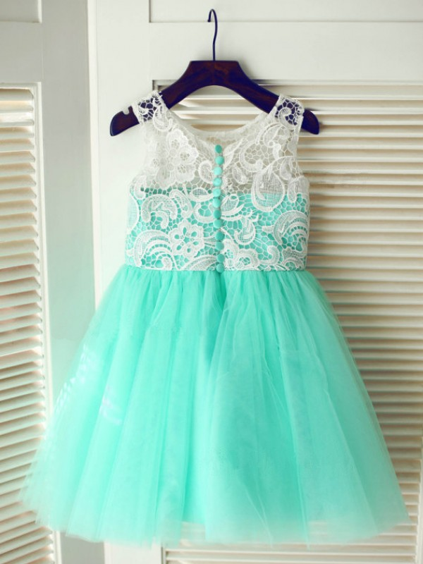 A-line Tea-length Tulle Flower Girl Dress