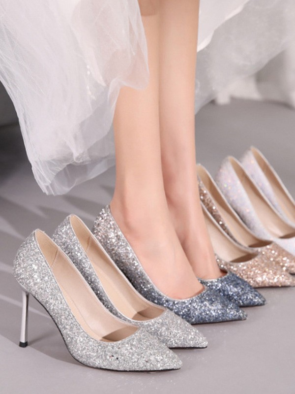 Sparkling Glitter Closed Toe Stiletto Heel High Heels