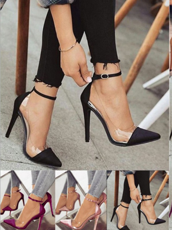PU Stiletto Heel Closed Toe High Heels