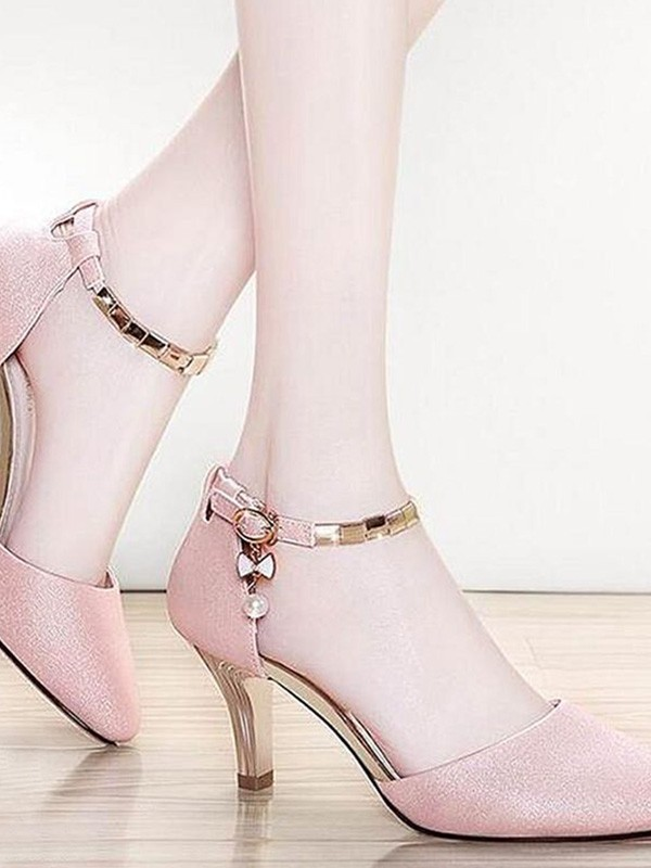 Leatherette Stiletto Heel Closed Toe Sandals