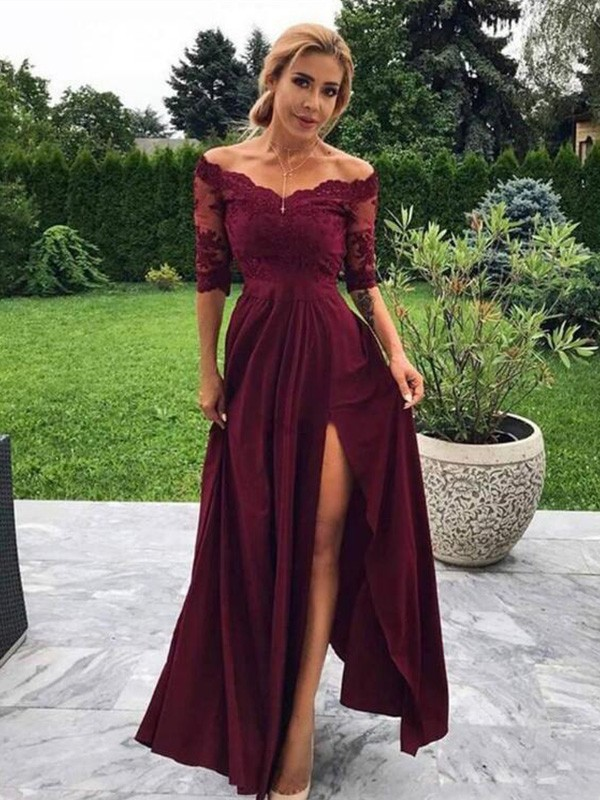 A-Line Satin Applique Off-the-Shoulder 1/2 Sleeves Floor-Length Dresses