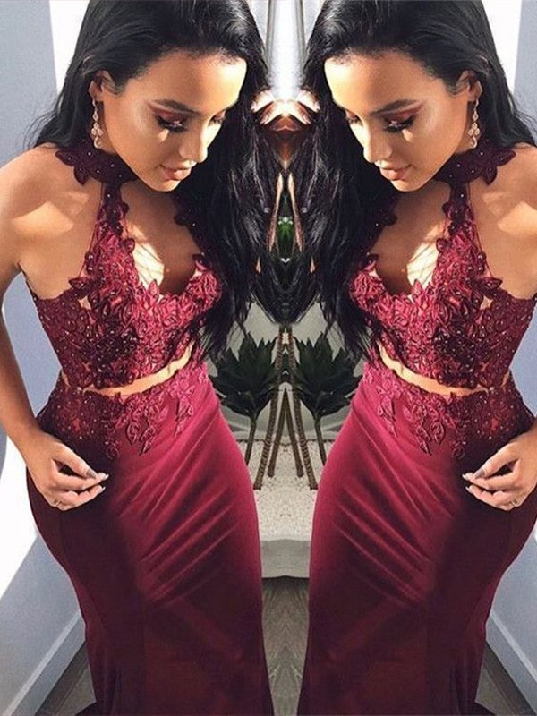Sheath Applique Halter Floor-Length Spandex Two Piece Dresses
