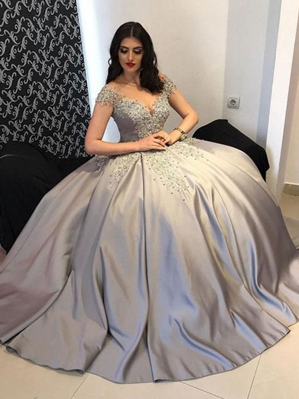 Ball Gown Satin Off-the-Shoulder Beading Sweep/Brush Train Dresses