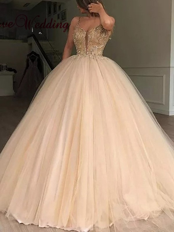 Ball Gown V-neck Sleeveless Floor-Length Tulle Beading Dresses