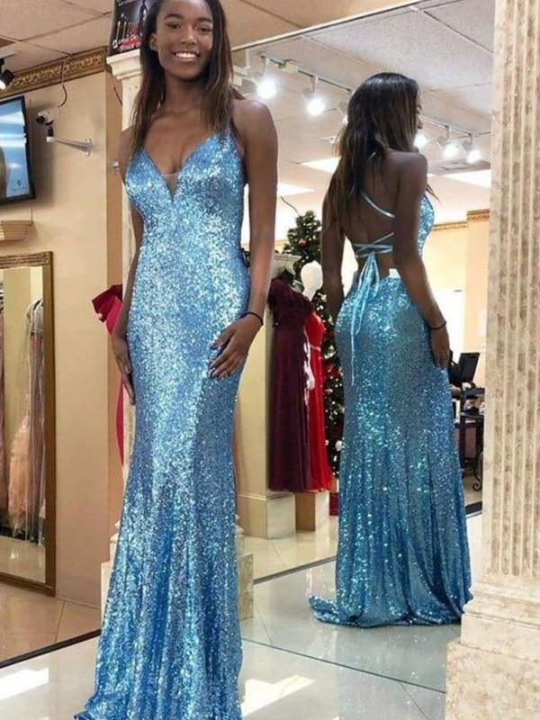 Mermaid Sleeveless V-neck Sweep/Brush Train Sequins Ruffles Dresses