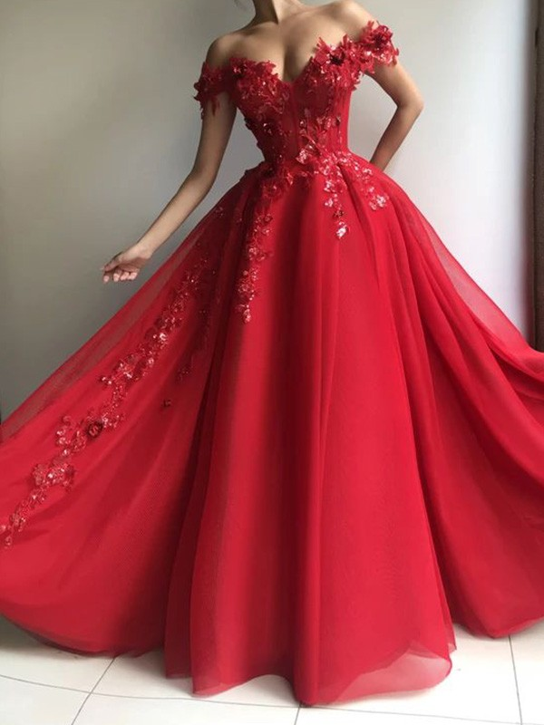 A-Line Off-the-Shoulder Sleeveless Floor-Length Tulle Applique Dresses