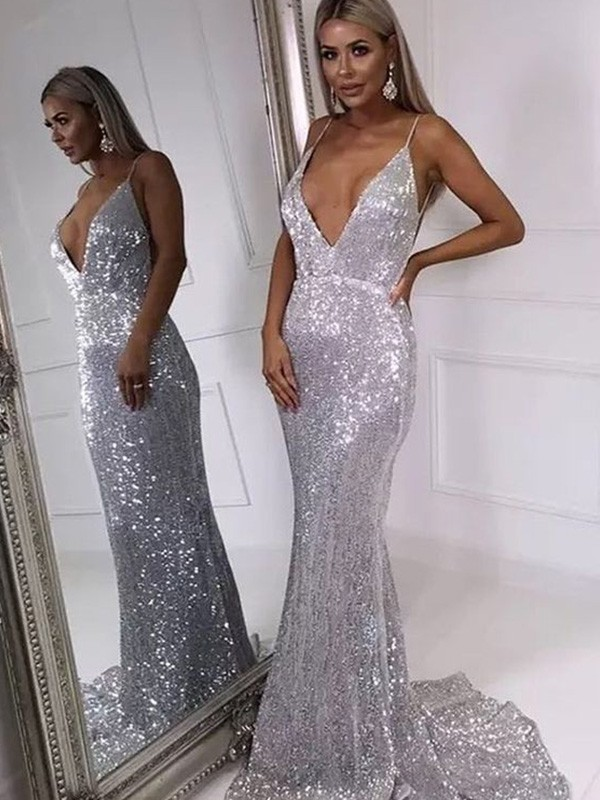 Mermaid V-neck Sweep/Brush Train Sleeveless Sequins Ruffles Dresses