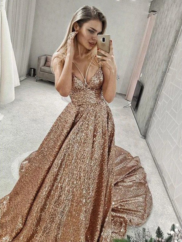 A-Line Spaghetti Straps Sleeveless Court Train Sequins Ruffles Dresses