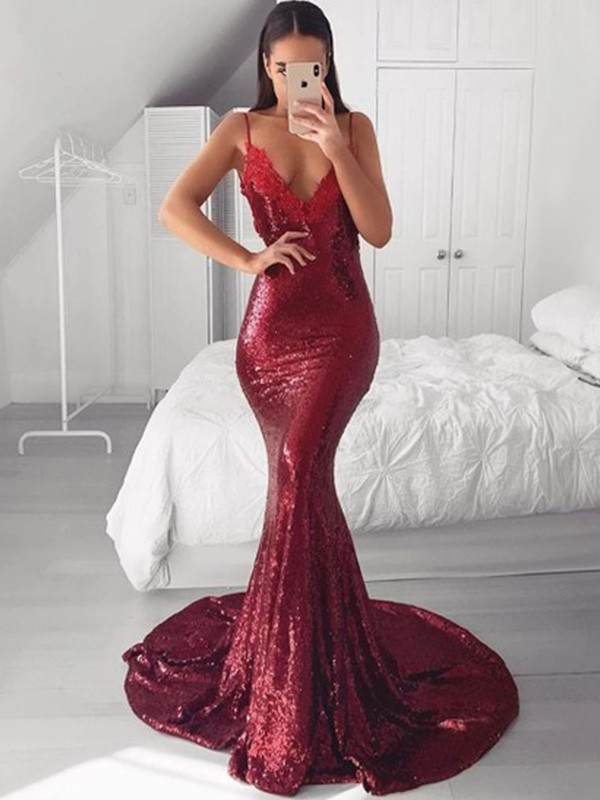 Mermaid V-neck Sweep/Brush Train Sleeveless Sequins Applique Dresses