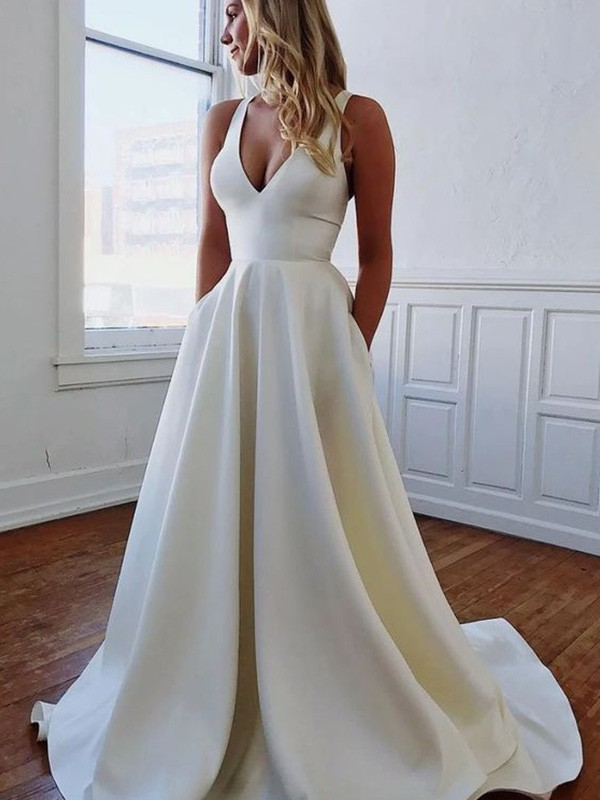 A-Line V-neck Sleeveless Sweep/Brush Train Satin Ruffles Wedding Dresses