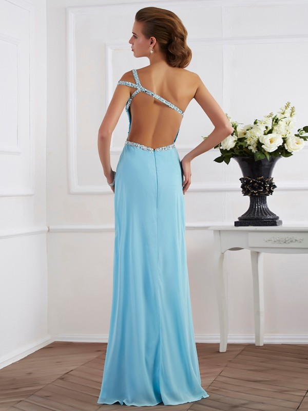 A-Line/Princess Sleeveless Beading One-Shoulder Long Chiffon Dresses