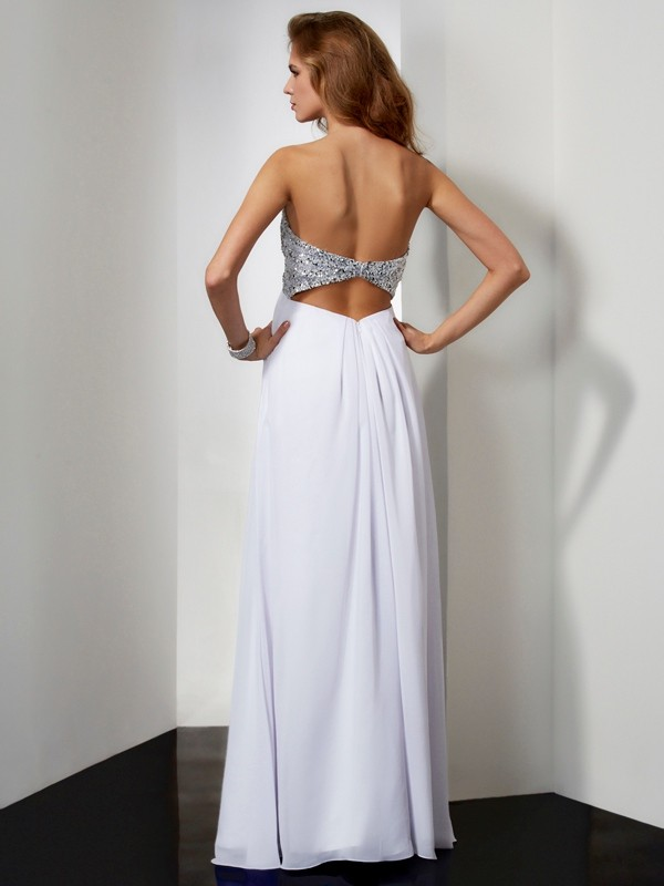 Sheath/Column Beading Sweetheart Sleeveless Long Chiffon Dresses