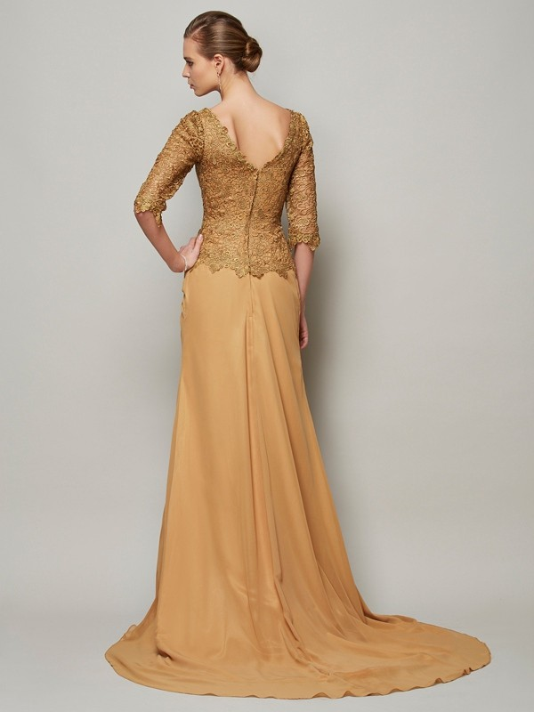 Sheath/Column V-neck 1/2 Sleeves Lace Long Chiffon Dresses