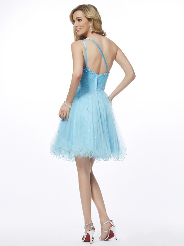 A-Line/Princess One-Shoulder Sleeveless Beading Short Organza Dresses
