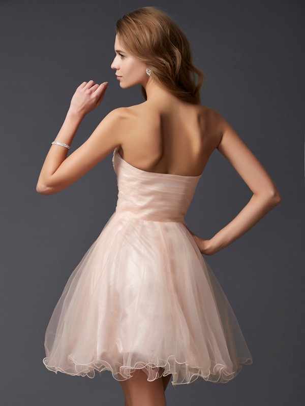 A-Line/Princess Sweetheart Sleeveless Short Silk like Satin Dresses