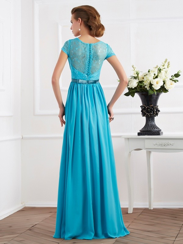 A-Line/Princess V-neck Beading Short Sleeves Long Chiffon Dresses