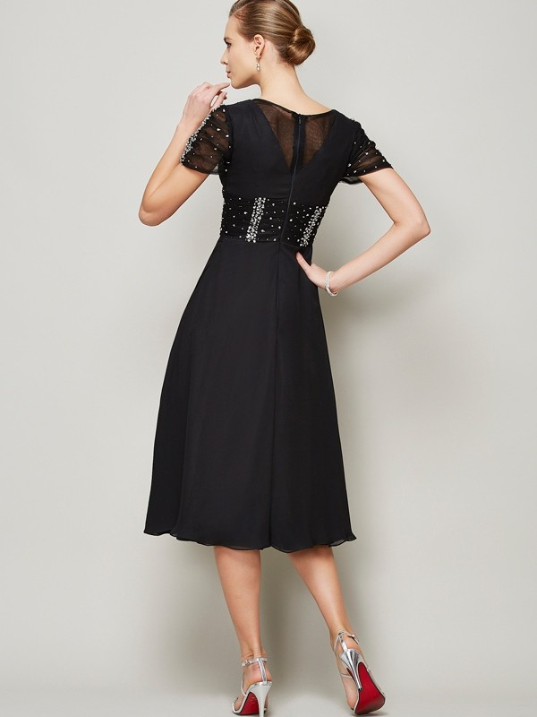 A-Line/Princess V-neck Short Sleeves Ruffles Short Chiffon Dresses