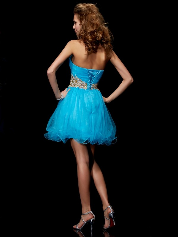 A-Line/Princess Sweetheart Sleeveless Beading Short Net Dresses