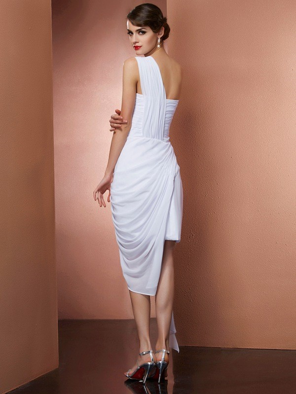 Sheath/Column One-Shoulder Sleeveless Pleats Beading Short Chiffon Dresses
