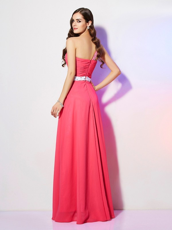 A-Line/Princess One-Shoulder Sleeveless Beading Long Chiffon Dresses