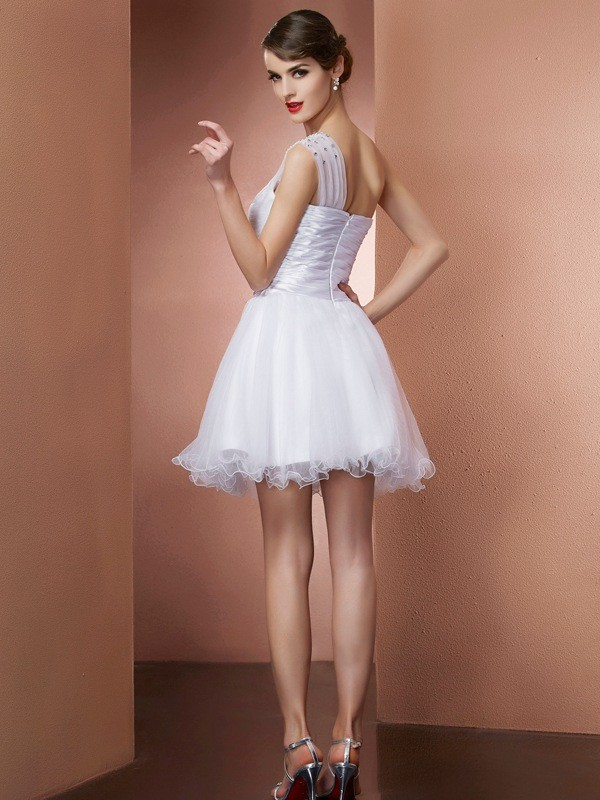 A-Line/Princess One-Shoulder Sleeveless Beading Short Net Dresses