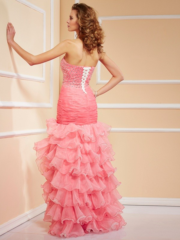 Trumpet/Mermaid Sweetheart Sleeveless Ruffles High Low Organza Dresses