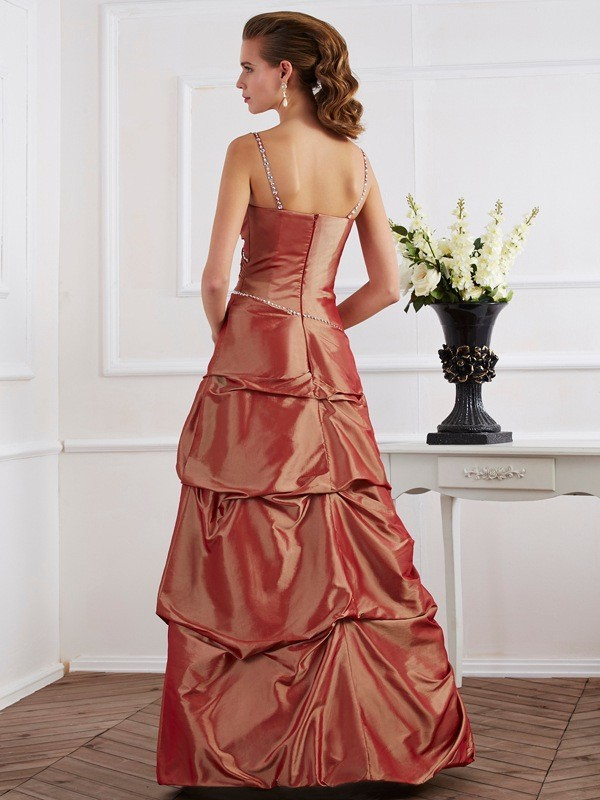 Sheath/Column Spaghetti Straps Sleeveless Beading Long Taffeta Dresses