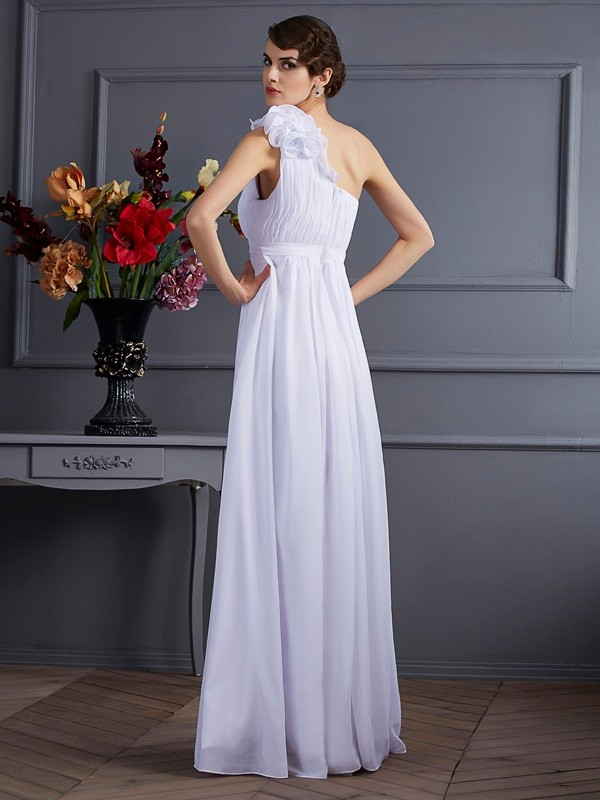 A-Line/Princess One-Shoulder Sleeveless Pleats Applique Long Chiffon Dresses