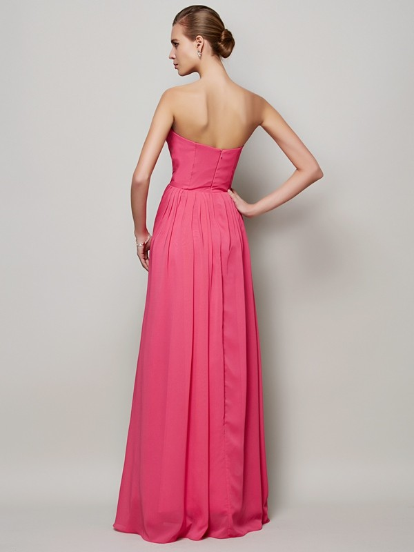 A-Line/Princess Sweetheart Sleeveless Pleats Long Chiffon Dresses
