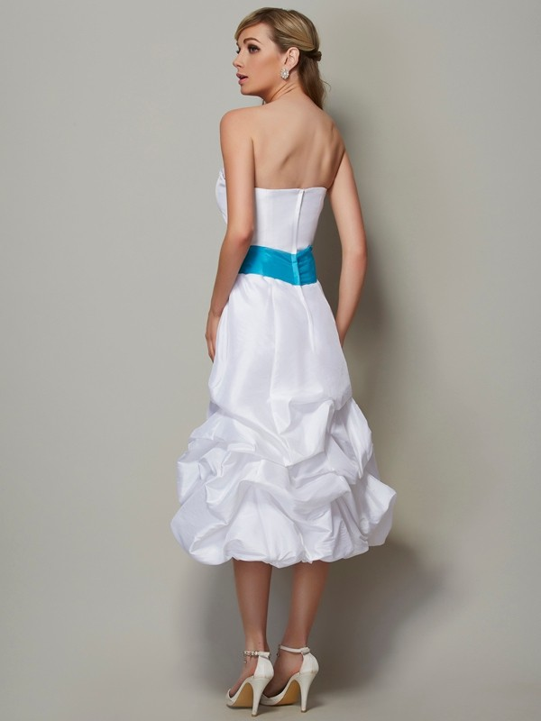 A-Line/Princess Strapless Sleeveless Short Taffeta Bridesmaid Dresses