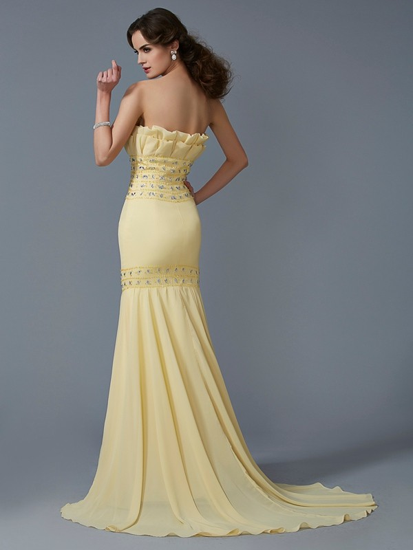 Trumpet/Mermaid Strapless Sleeveless Beading Long Chiffon Dresses