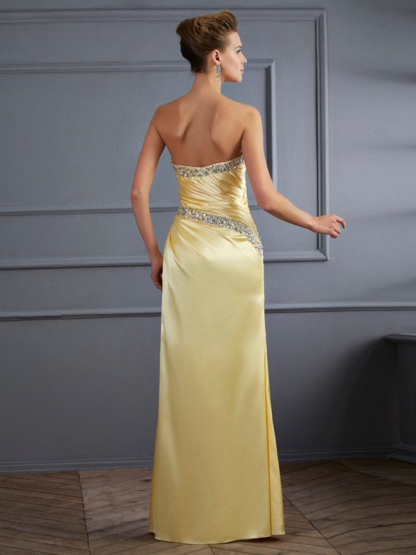 Trumpet/Mermaid Sweetheart Sleeveless Beading Long Elastic Woven Satin Dresses