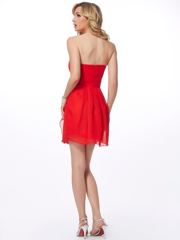 Sheath/Column Sweetheart Sleeveless Ruffles Short Chiffon Dresses
