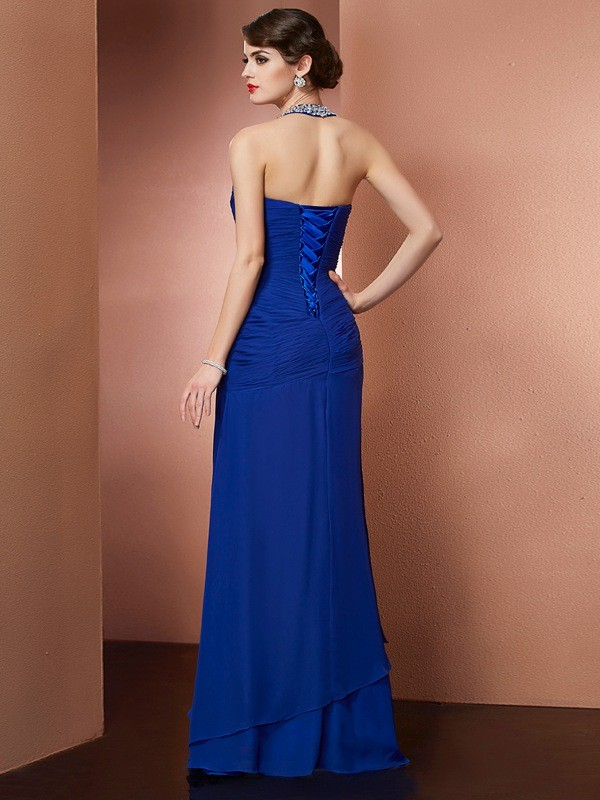 Sheath/Column Halter Sleeveless Beading Long Chiffon Dresses