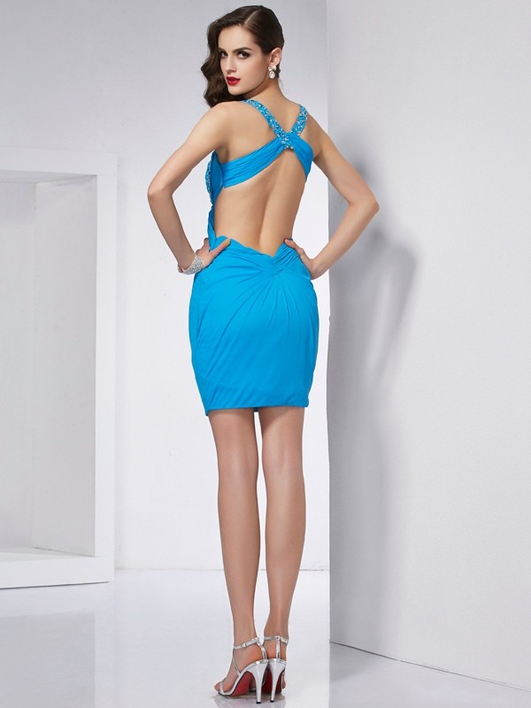 Sheath/Column Spaghetti Straps Sleeveless Beading Short Chiffon Dresses