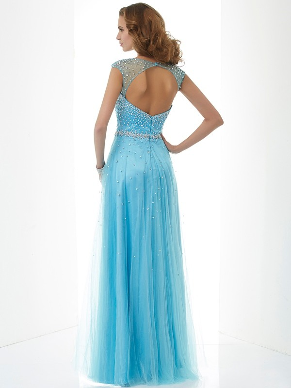 Sheath/Column High Neck Sleeveless Beading Long Net Dresses