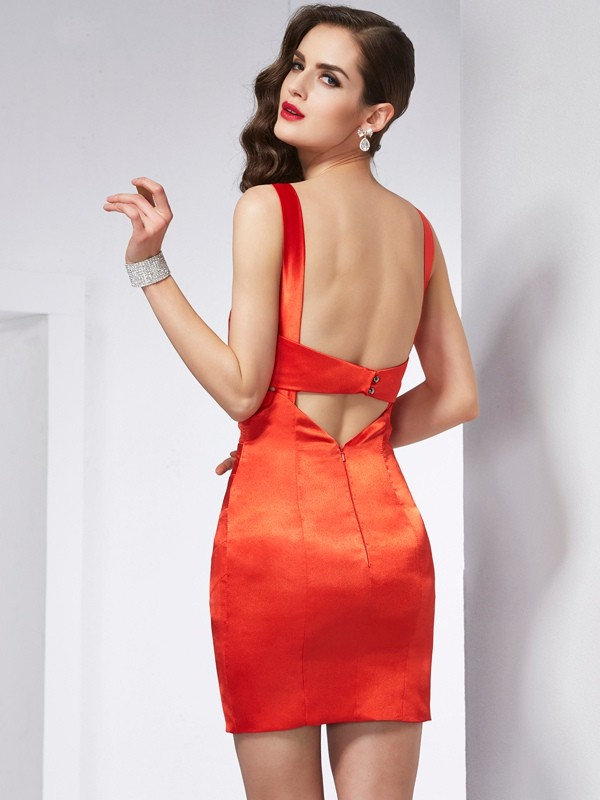 Sheath/Column V-neck Sleeveless Beading Short Elastic Woven Satin Dresses