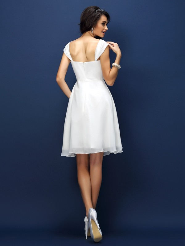 A-Line/Princess Straps Pleats Sleeveless Short Chiffon Bridesmaid Dresses