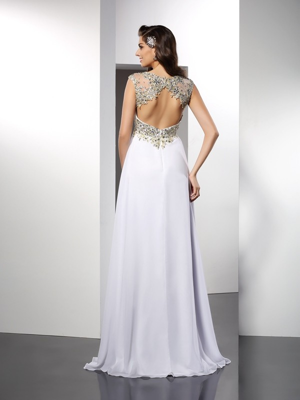 A-Line/Princess Bateau Ruffles Sleeveless Long Chiffon Dresses
