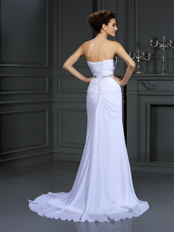 Sheath/Column Sweetheart Beading Sleeveless Long Chiffon Wedding Dresses