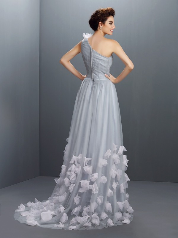 A-Line/Princess One-Shoulder Hand-Made Flower Sleeveless Long Net Dresses