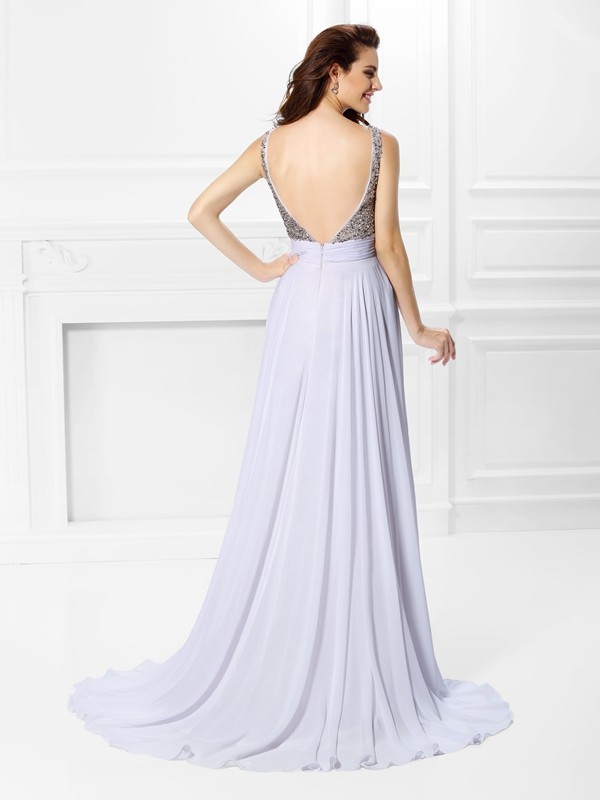 A-Line/Princess Straps Pleats Beading Sleeveless Long Chiffon Dresses