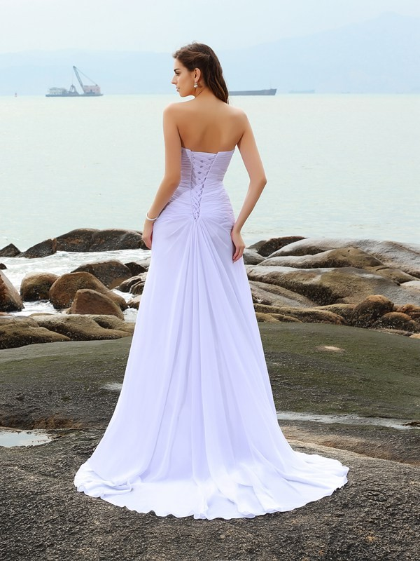 Sheath/Column Sweetheart Beading Sleeveless Long Chiffon Beach Wedding Dresses