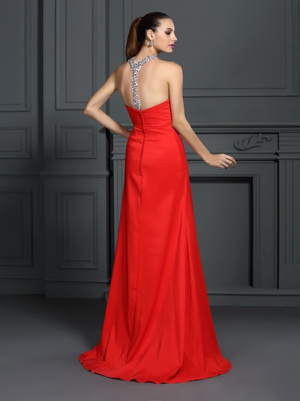 A-Line/Princess High Neck Beading Sleeveless Long Elastic Woven Satin Dresses
