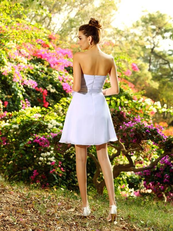 A-Line/Princess Sweetheart Bowknot Sleeveless Short Chiffon Bridesmaid Dresses